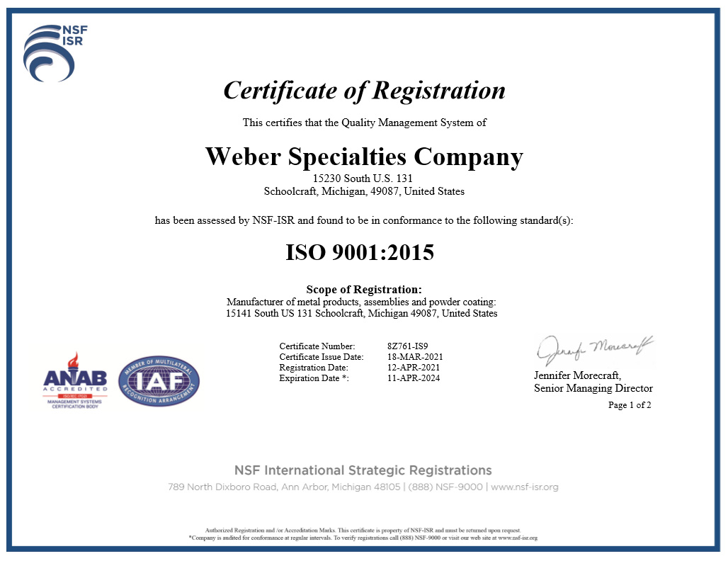 About Weber Specialties Company Quality